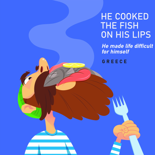 He cooked the fish on his lips