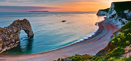 Photo of the English coastline at sunset