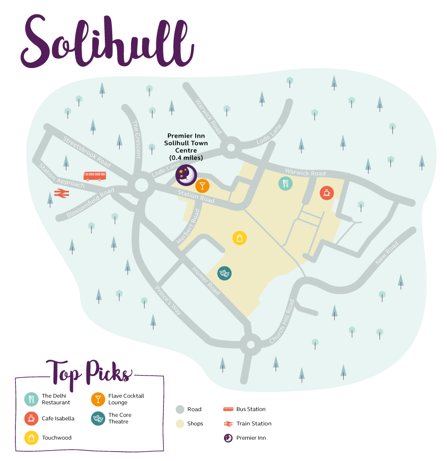 Premier Inn Solihull map
