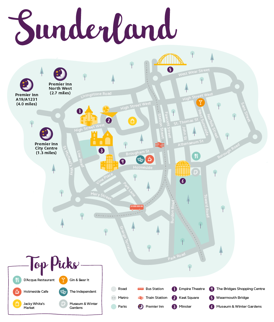 Premier Inn Map of Sunderland