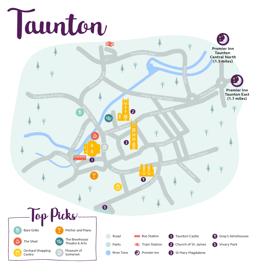 Premier Inn map of Taunton