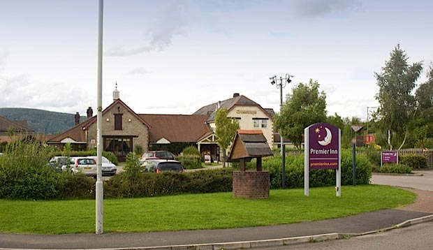 View from the road of Premier Inn Caerphilly Crossways hotel