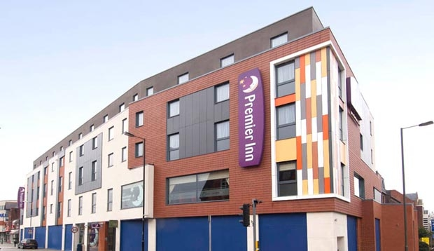 View from the street of Premier Inn Camberley hotel