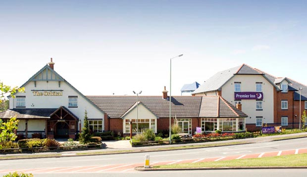 Exterior of Premier Inn Cannock with restaurant
