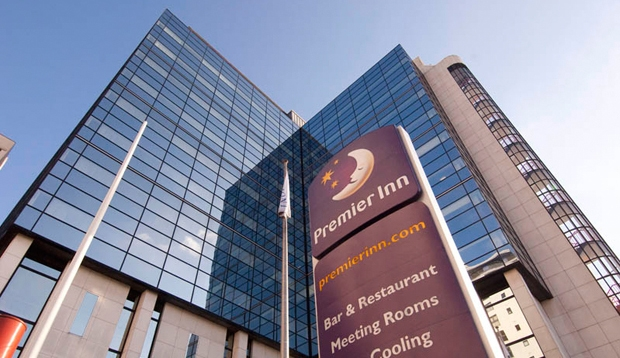 Exterior of Premier Inn Cardiff City Centre with PI sign visible