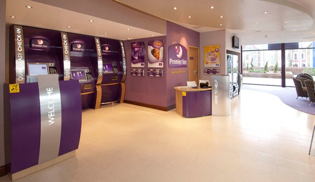 Inside reception area at Premier Inn Cardiff City Centre