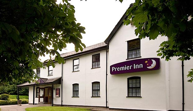 Front door of Premier Inn Cardiff East hotel