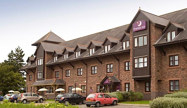 Outside view of Premier Inn Carlisle Central hotel showing free parking outside