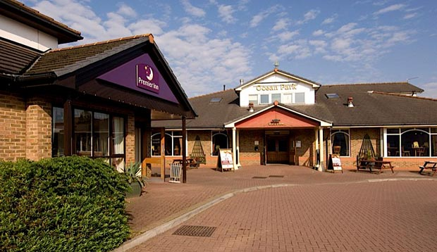 Exterior of reception at Premier Inn Hotel Cardiff City South