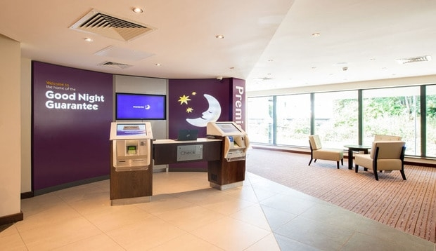Reception at Premier Inn Chelmsford City Centre showing self check in