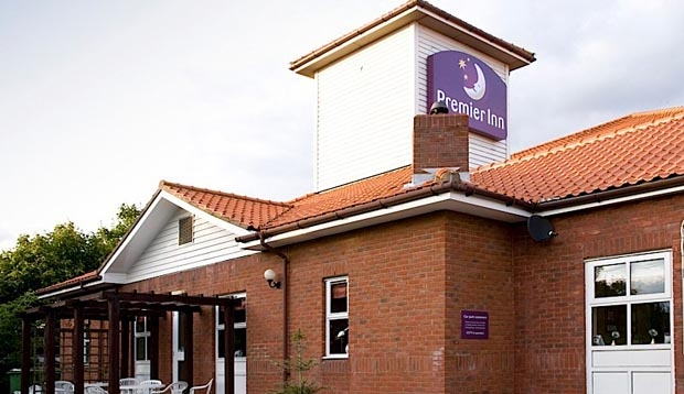 Front Door at Premier Inn Chelmsford (Springfield) hotel showing Premier Inn sign