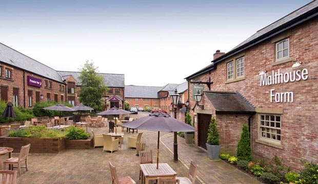 Exterior bar and restaurant area at Premier Inn Hotel Chorley North