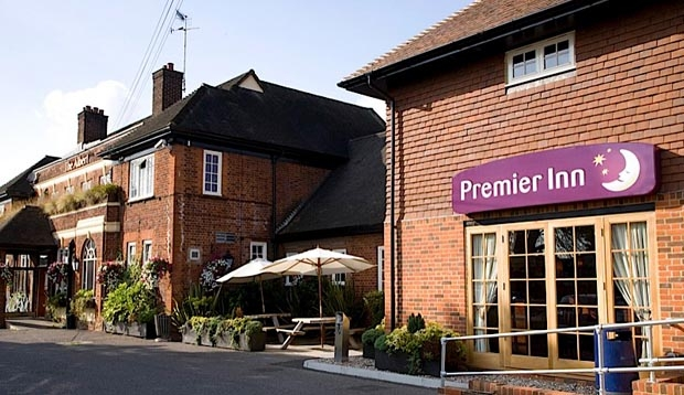 Exterior of Premier Inn Hotel Colchester Cowdray Avenue (A133) showing surrounding area