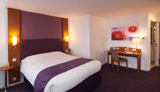 Double bedroom with desk and en-suite bathroom at Premier Inn Coventry City Centre