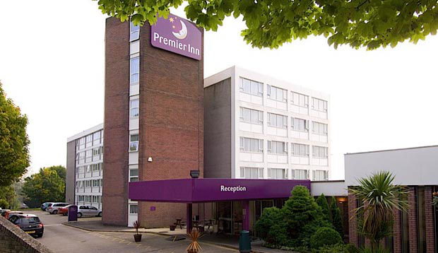 Exterior of reception at Premier Inn Cardiff North