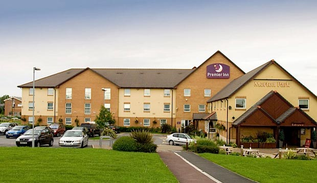 Exterior of Premier Inn Darlington East (Morton Park) with car park