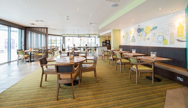Restaurant area at Premier Inn Exmouth Seafront