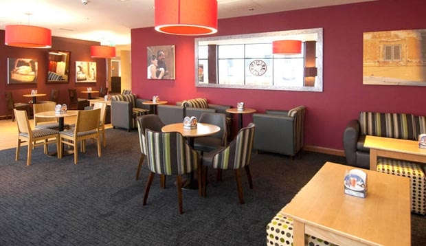 Restaurant area at Premier Inn London Gatwick Airport (North Terminal)