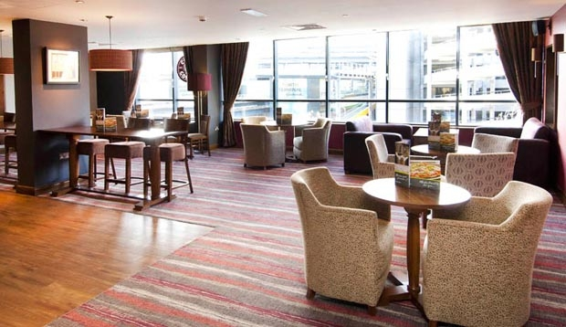 Restaurant at Premier Inn London Gatwick Airport (North Terminal) with large windows in view
