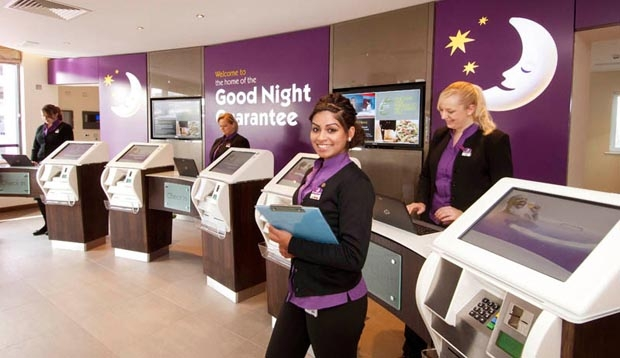 Reception at Premier Inn London Gatwick Airport (North Terminal) showing self check in kiosks