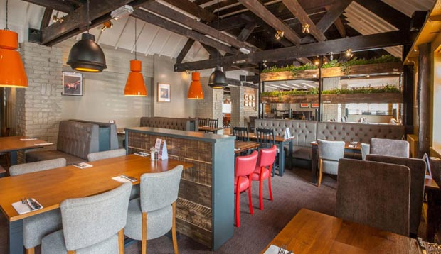 Beefeater restaurant area at Premier Inn Gloucester (Little Witcombe)