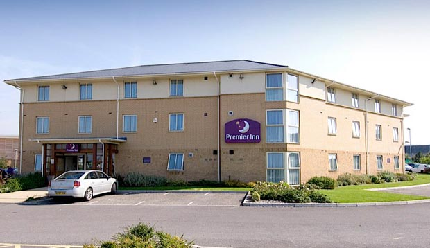 Exterior at Premier Inn Gloucester Business Park showing car park