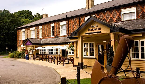 Exterior of Premier Inn Godalming showing restaurant