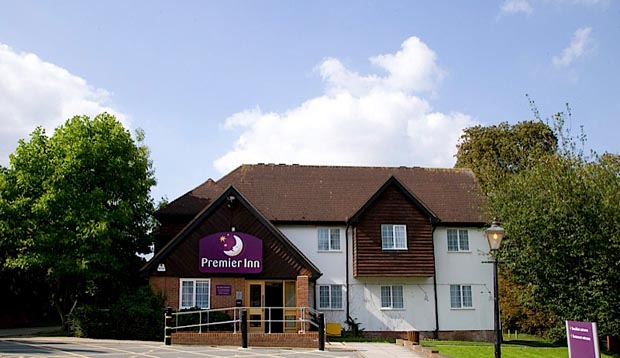 Exterior at Premier Inn Harlow showing surrounding greenery