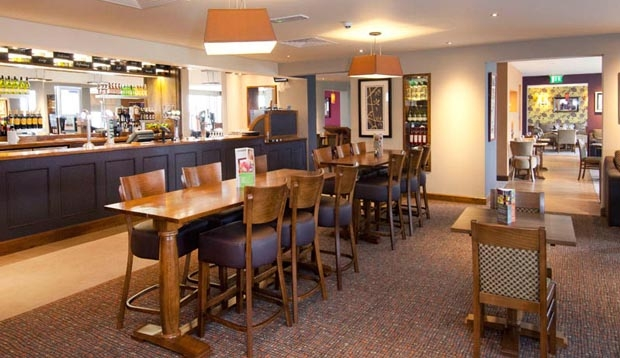 Bar area at Premier Inn London Heathrow Airport Terminal 5