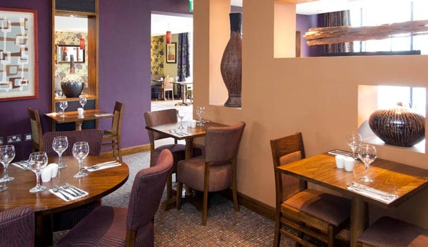 Restaurant area at Premier Inn London Heathrow Airport Terminal 5