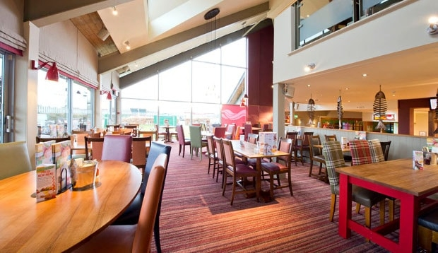 Restaurant area at Premier Inn Hinckley showing seating