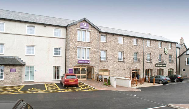 Car park area and exterior of Premier Inn Kendal Central