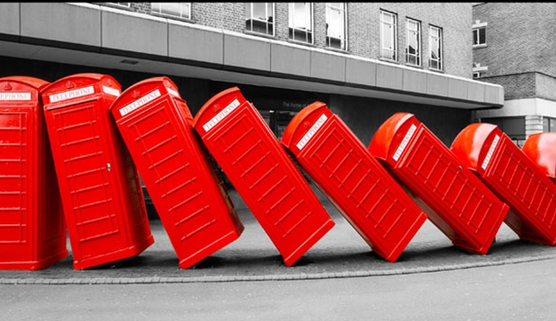 Red phone boxes at Kingston Upon Thames