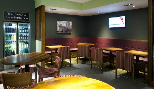 Restaurant area at Premier Inn Leamington Spa Town Centre