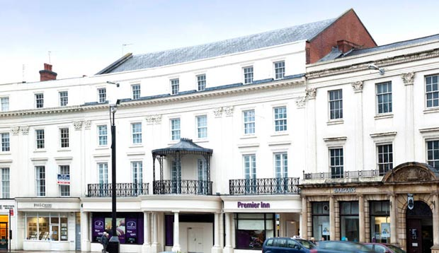 Exterior at Premier Inn Leamington Spa Town Centre showing surrounding area