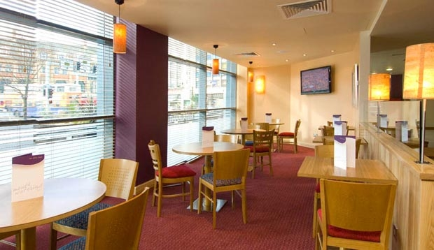 Restaurant area at Premier Inn Leicester City Centre