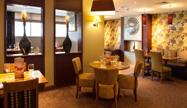 Restaurant area at Premier Inn Lincoln City Centre