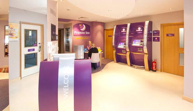 Reception area at Premier Inn Liverpool John Lennon Airport hotel