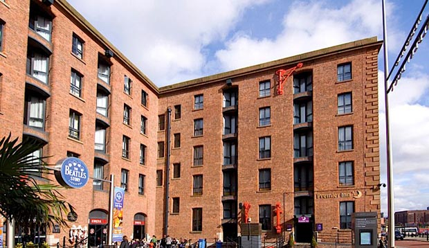Exterior of Premier Inn Liverpool Albert Dock hotel