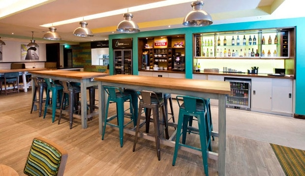 Bar area at Premier Inn Brixton hotel