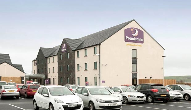 Car park and exterior of Premier Inn Derry / Londonderry hotel