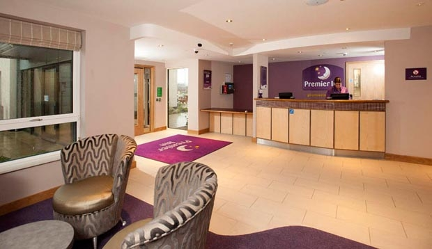 Reception at Premier Inn Derry / Londonderry hotel with seating area