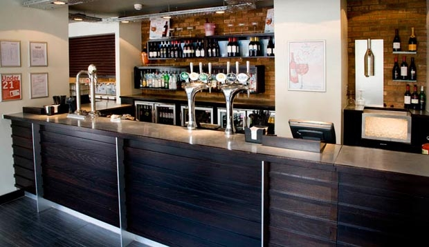 Bar area at Premier Inn London Euston hotel