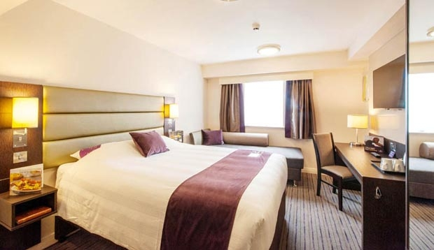 Bedroom inside Premier Inn Hackney hotel with king size Hypnos bed