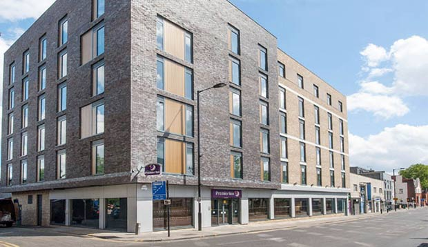 Front of Premier Inn London Hackney hotel