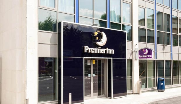Entrance and reception at Premier Inn London Hendon (The Hyde) hotel