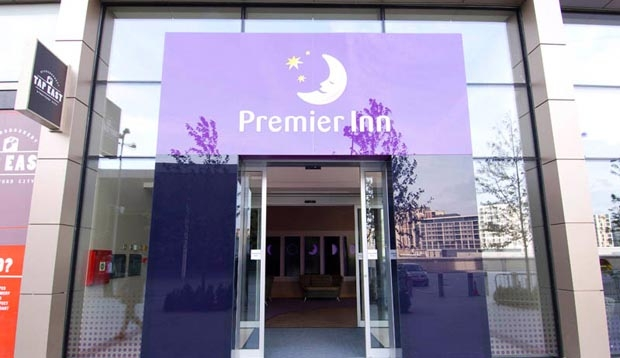 Reception area at Premier Inn London Stratford hotel