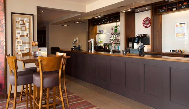 Bar area at Premier Inn London Stratford hotel