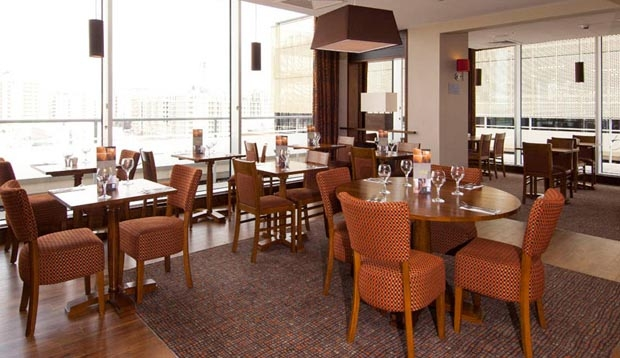 Restaurant area at Premier Inn London Stratford hotel