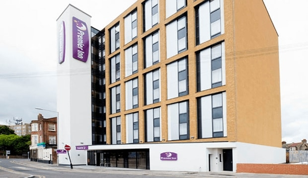 Front view from the road of Premier Inn Tottenham hotel